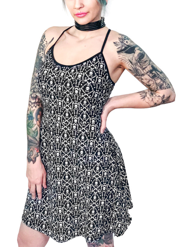Women's Damask Bones Fit & Flare Skater Dress by Too Fast