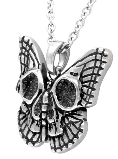 """Butterfly Skull"" Necklace by Controse (Silver) - www.inkedshop.com"