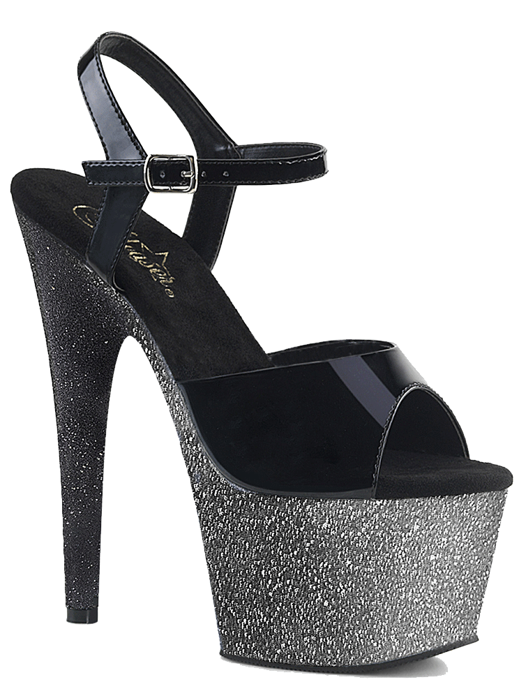 "Women's ""Adore-709 Ombre"" Heel by Pleaser (Black/Silver)"