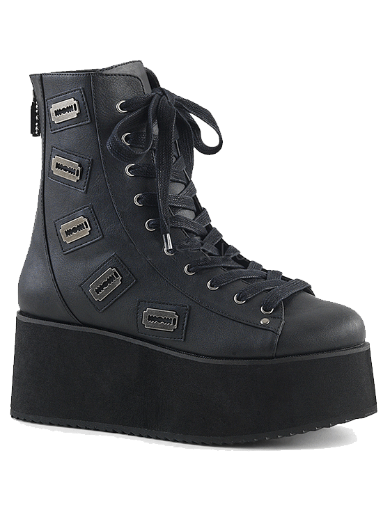 Women's Grip-103 Faux Leather Platform Ankle Boot by Pleaser