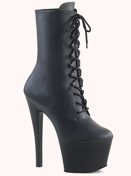 "Women's ""Sky-1020"" Faux Leather Ankle Boot by Pleaser (Black)"