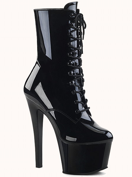 "Women's ""Sky-1020"" Patent Leather Ankle Boot by Pleaser (Black)"