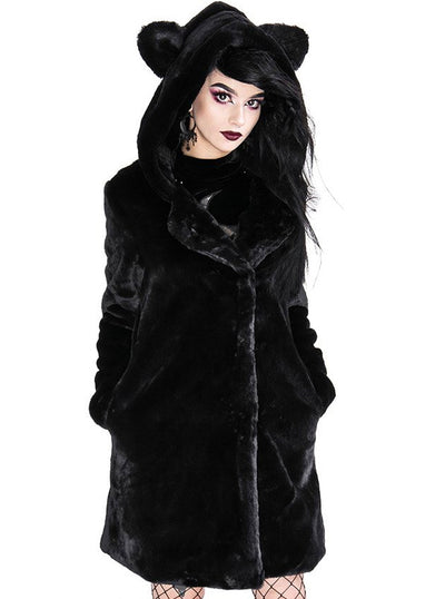 Women's Cat Faux Fur Coat by Restyle