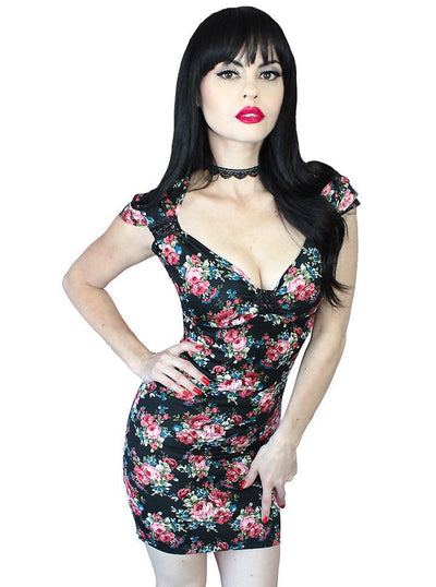 "Women's ""Gothic Rose"" Lace Up Corset Dress by Demi Loon (Black) - www.inkedshop.com"