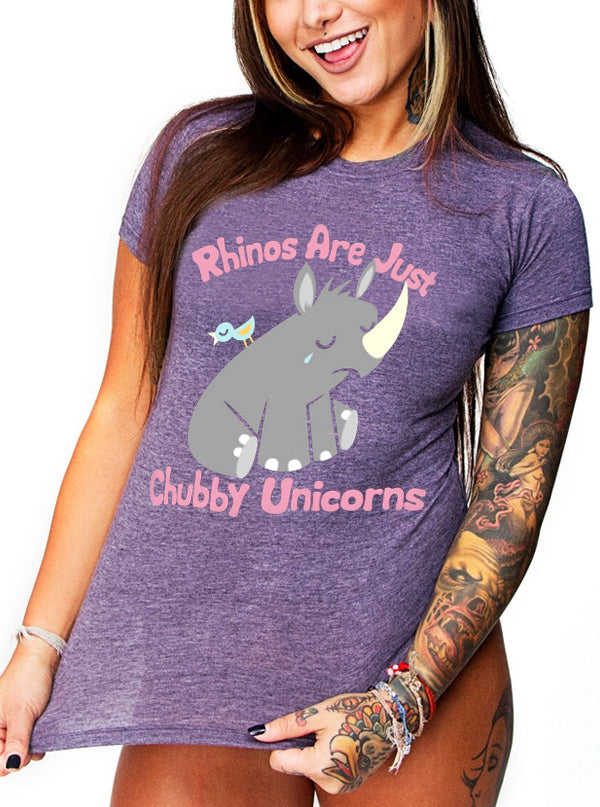 "Women's ""Chubby Unicorn"" Tee by Goodie Two Sleeves (Purple)"
