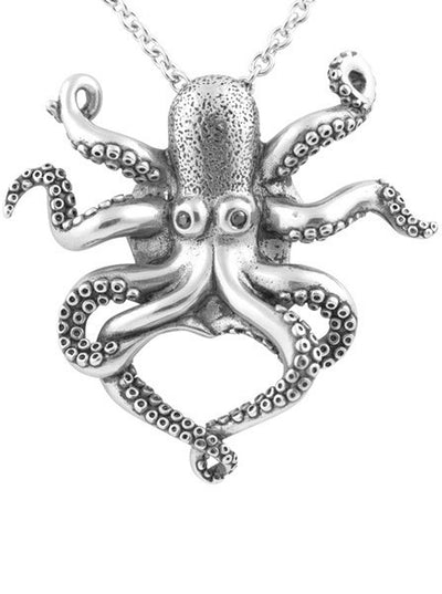 """Black Eyed Octopus"" Necklace by Controse (Silver) - www.inkedshop.com"