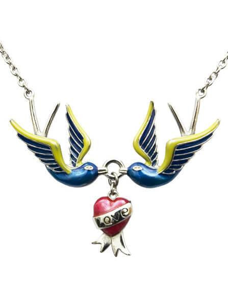 """Love Swallows"" Necklace by Controse (Silver) - www.inkedshop.com"