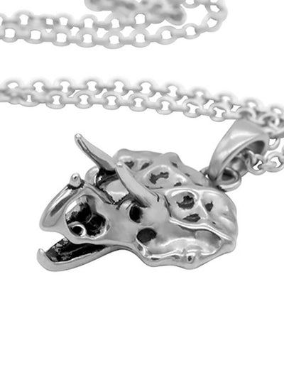 """Triceratops Skull"" Necklace by Controse (Silver) - www.inkedshop.com"