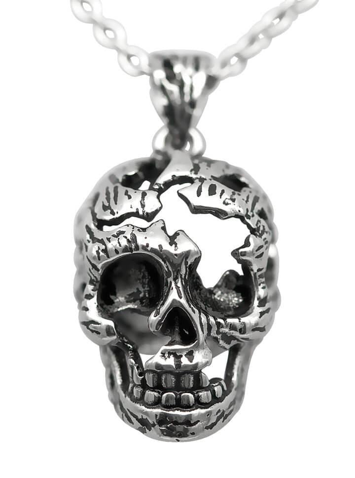 """Fractured Skull"" Necklace by Controse (Silver) - www.inkedshop.com"