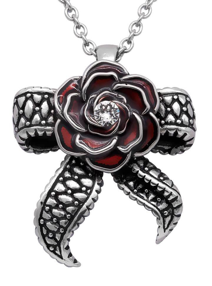 """Rose With Tentacle Bow"" Necklace by Controse (Silver) - www.inkedshop.com"