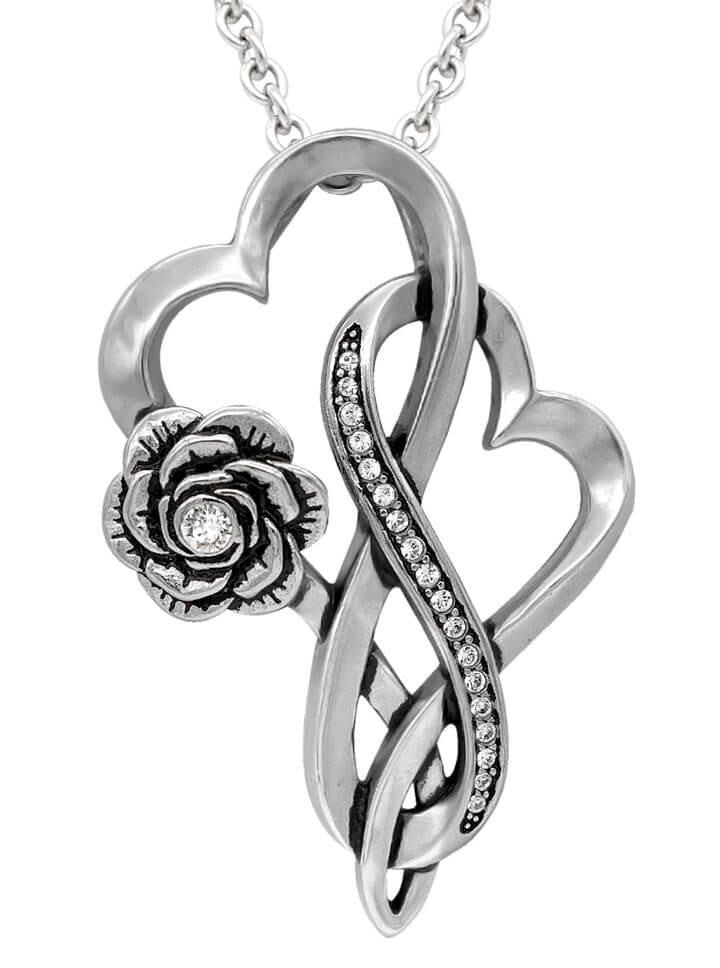 """Infinity Hearts With Rose"" Necklace by Controse (Silver) - www.inkedshop.com"