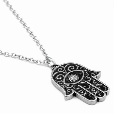 Crystal-Eyed Hamsa Necklace by Controse