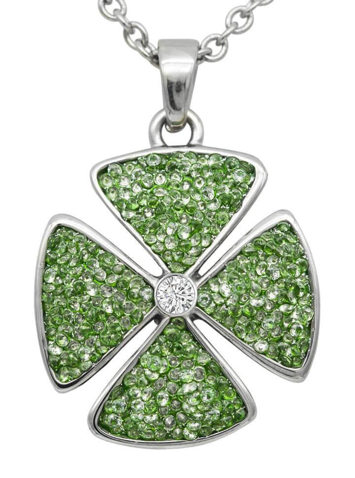 """Crystal Clover"" Necklace by Controse (Green) - www.inkedshop.com"