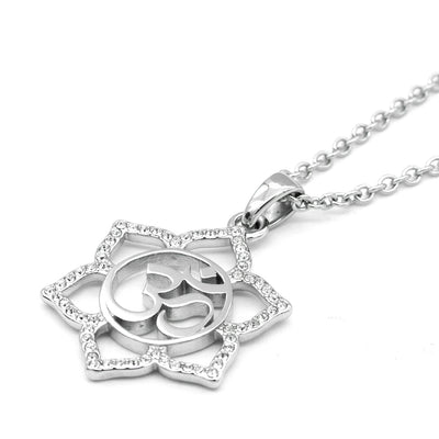 """Sacred Om Lotus Flower"" Necklace by Controse (Stainless Steel)"
