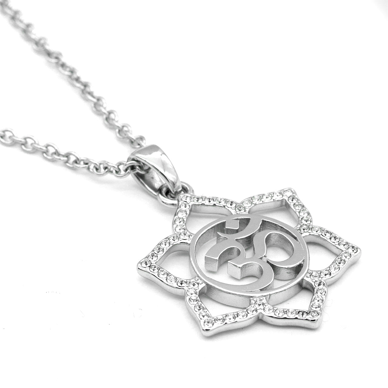 Sacred Om Lotus Flower Necklace By Controse Stainless Steel