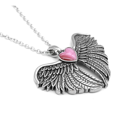 """Forever with You Winged Heart"" Necklace by Controse (Stainless Steel)"