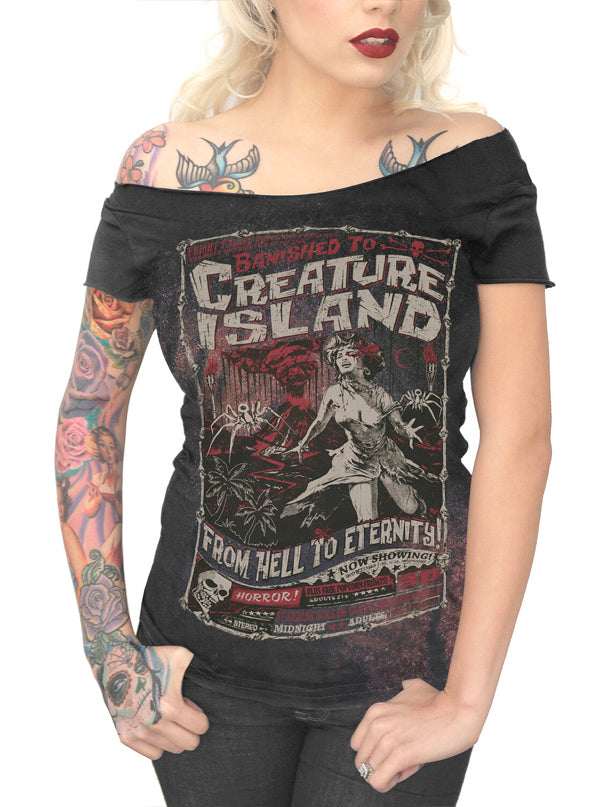 Women's Creature Island Off Shoulder Tee by Serpentine Clothing