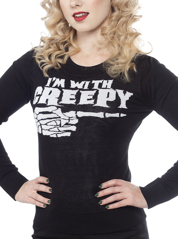 Women's I'm With Creepy Cardigan by Sourpuss