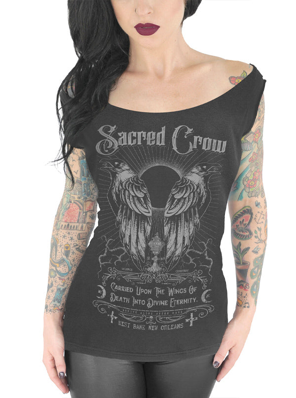 Women's Sacred Crow Off Shoulder Tee by Serpentine Clothing