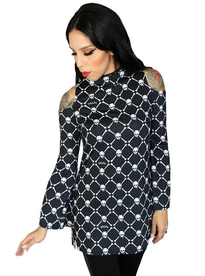 "Women's ""Skull Baby Cold Shoulder"" Tunic by Demi Loon (Black) - www.inkedshop.com"