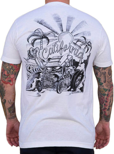 "Men's ""California"" Tee by Lowbrow Art Company (Black/White) - www.inkedshop.com"