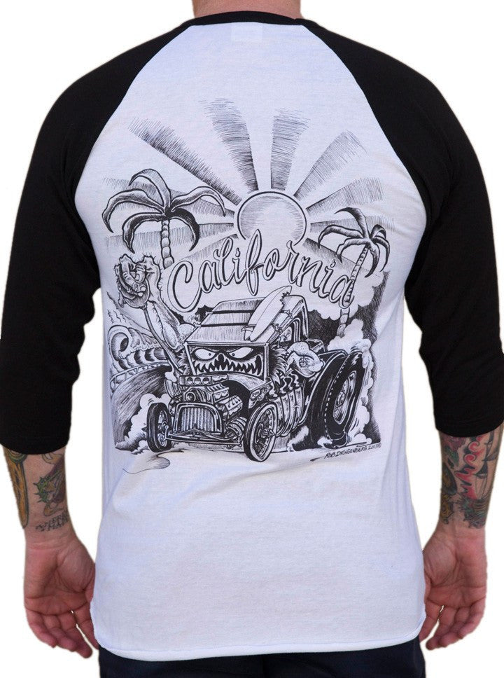 "Men's ""California"" Baseball Tee by Lowbrow Art Company (Black/White) - www.inkedshop.com"