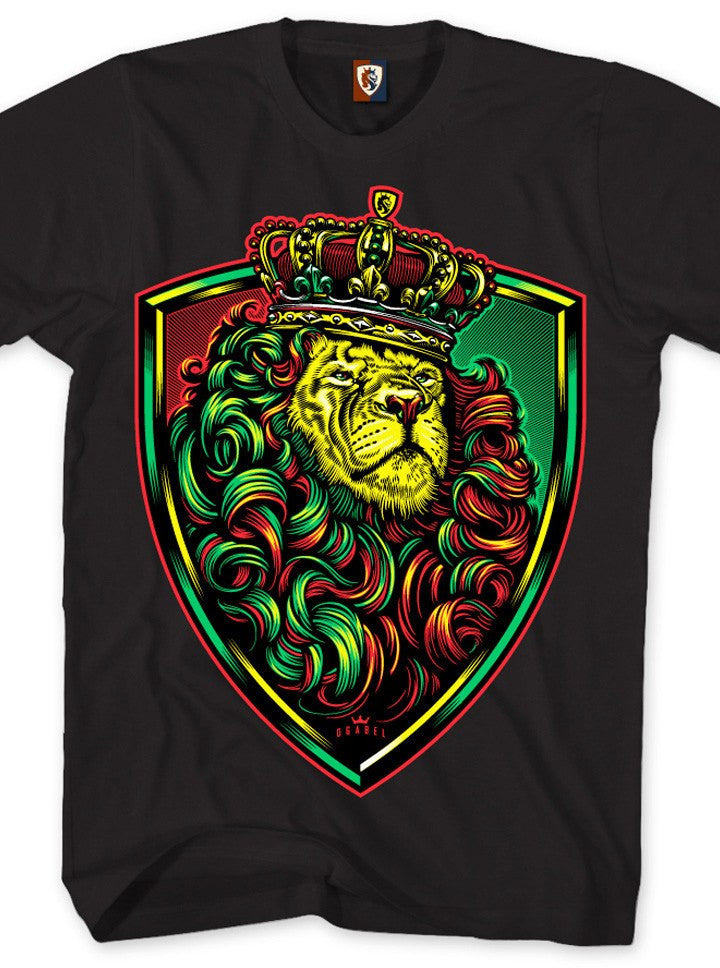 "Men's ""Crown Shield Rasta"" Tee by OG Abel (Black) - www.inkedshop.com"