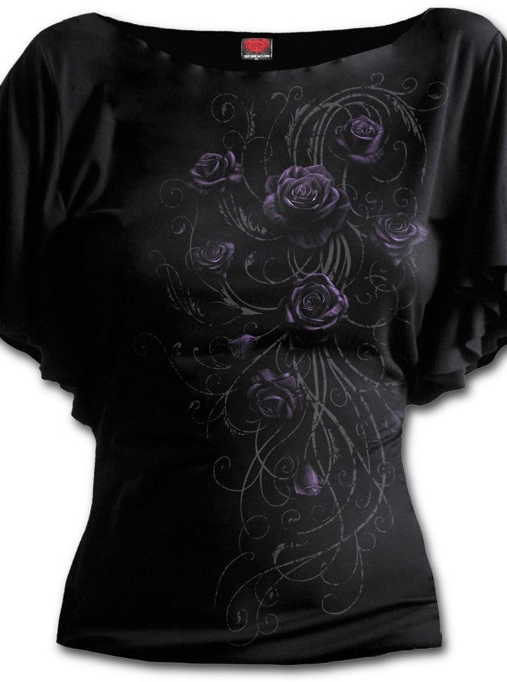 "Women's ""Entwined"" Boat Neck Bat Sleeve Top by Spiral USA (Black) - www.inkedshop.com"