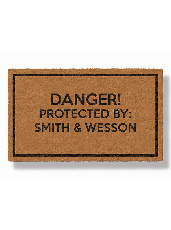 DANGER: Protected by Smith & Wesson Doormat by Bison