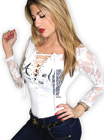 "Women's ""Angel"" Lace Tied Up Tee by Demi Loon (White)"