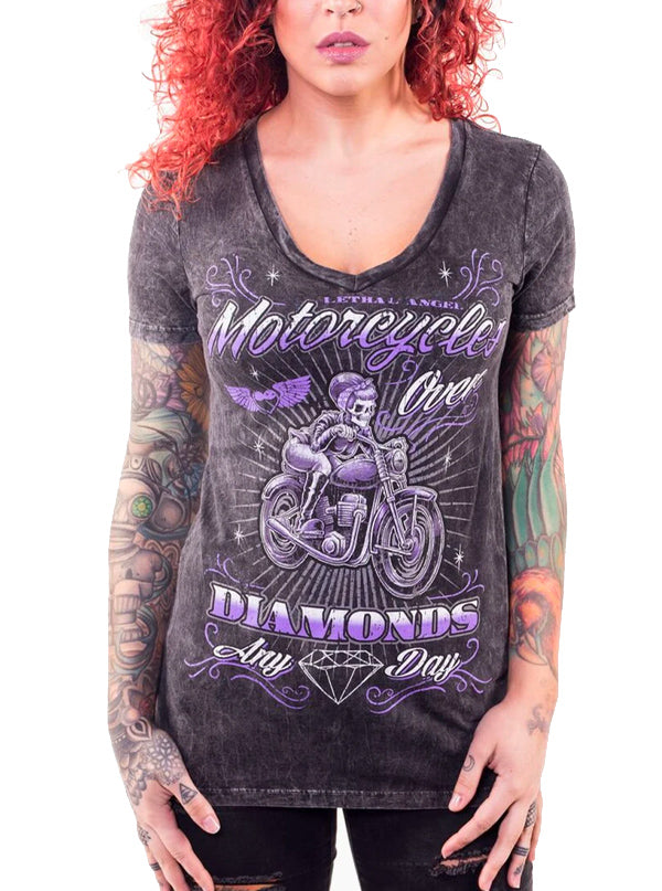 Women's Motorcycles Over Diamonds V Neck Tee by Lethal Angel (Wash Black)