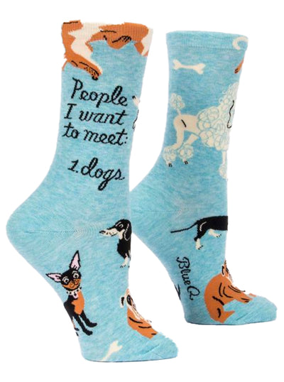 Women's People I Want To Meet: Dogs Crew Socks