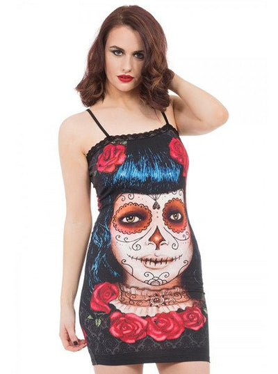 "Women's ""Deadly Dame Day of the Dead"" Dress by Jawbreaker (Black)"