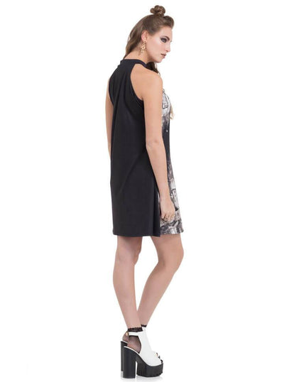 "Women's ""Church Column"" High Neck Dress by Jawbreaker (Black) - www.inkedshop.com"