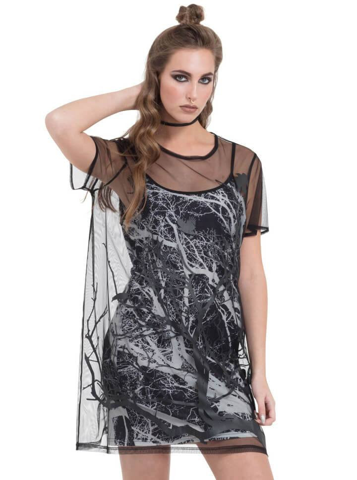 "Women's ""Crow"" Two Layered Mesh Dress by Jawbreaker (Black) - www.inkedshop.com"