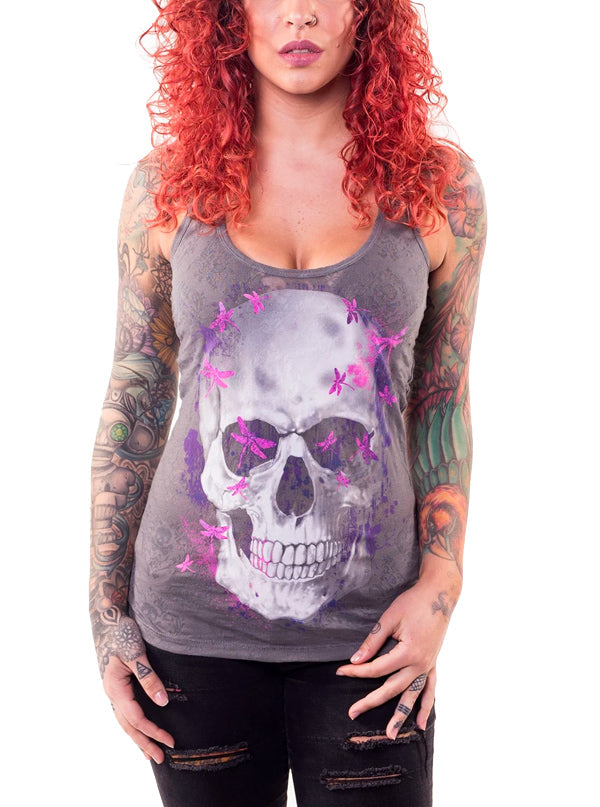 Women's LA Dragonfly Skull Burnout Tank by Lethal Angel