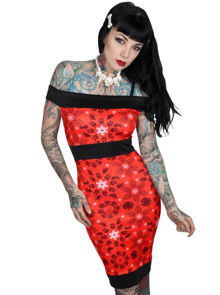 "Women's ""Krampus"" Pencil Dress by Kreepsville 666 (Red) - www.inkedshop.com"