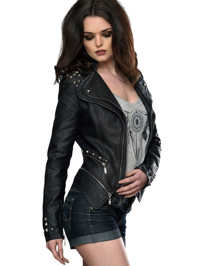 "WOMEN'S ""STUDDED ROCKER"" MOTO JACKET BY PRETTY ATTITUDE CLOTHING (BLACK)4"