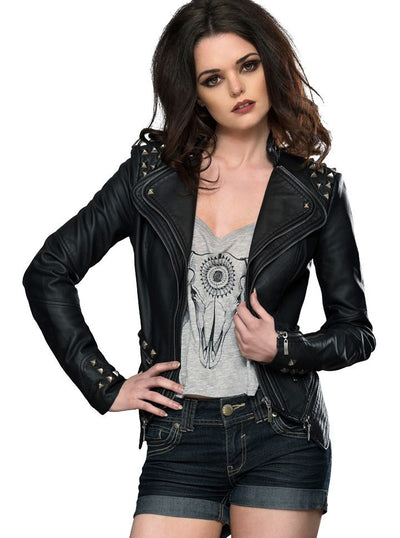 "WOMEN'S ""STUDDED ROCKER"" MOTO JACKET BY PRETTY ATTITUDE CLOTHING (BLACK)2"