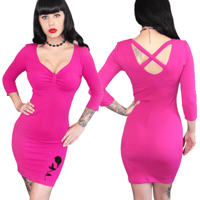 "Women's ""Lovespell Black Rose"" Pinup Dress by Demi Loon (Magenta)"