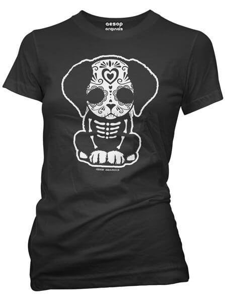 "Women's ""Day Of The Dead Sugar Skull Puppy"" Tee by Aesop Originals (Black) - www.inkedshop.com"