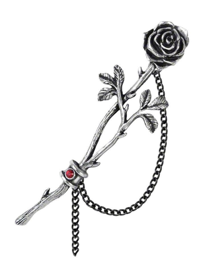 """Chained Love Rose"" Ear Wrap by Alchemy of England (Pewter) - www.inkedshop.com"