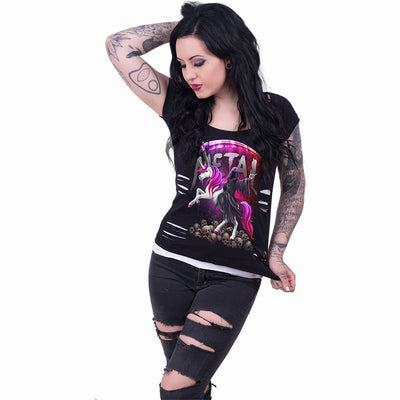 Women's Metallicorn 2in1 Ripped Top by Spiral USA