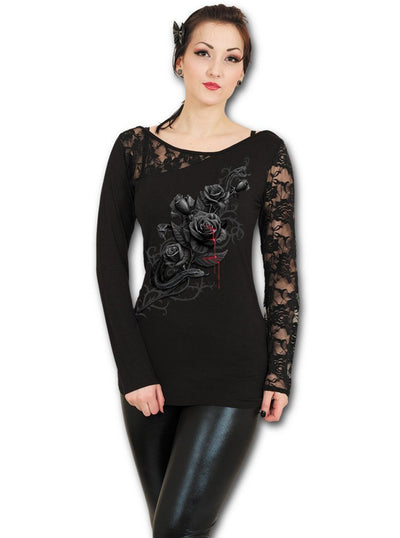 "Women's ""Fatal Attraction"" Lace One Shoulder Top by Spiral USA (Black) - www.inkedshop.com"