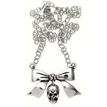 Bow with Dangle Skull Necklace by Femme Metale - InkedShop - 1