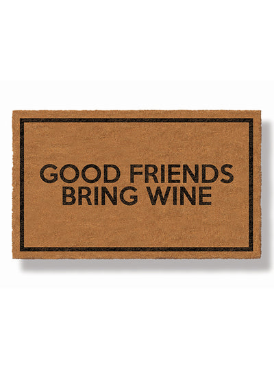 Good Friends Bring Wine Doormat by Funny Welcome