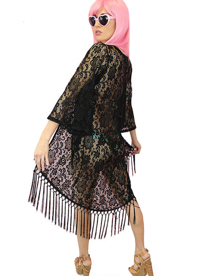 "Women's ""Fringed Retro"" Kimono Coverup by Demi Loon (Black)"