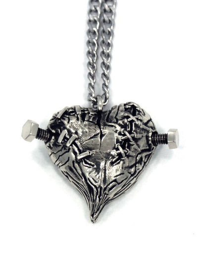 """Frankenheart"" Necklace by Han Cholo (Silver) - www.inkedshop.com"