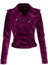 "Women's ""The One"" Velvet Moto Jacket by Pretty Attitude Clothing (Purple)"