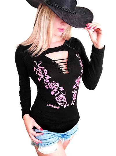 Women's Georgia Rose Long Sleeve Slashed Tee by Trashy Cowgirl